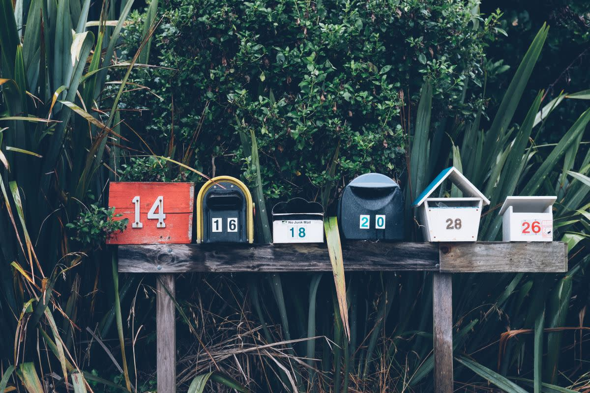 Mailboxes in a row as analog versions of email newsletters
