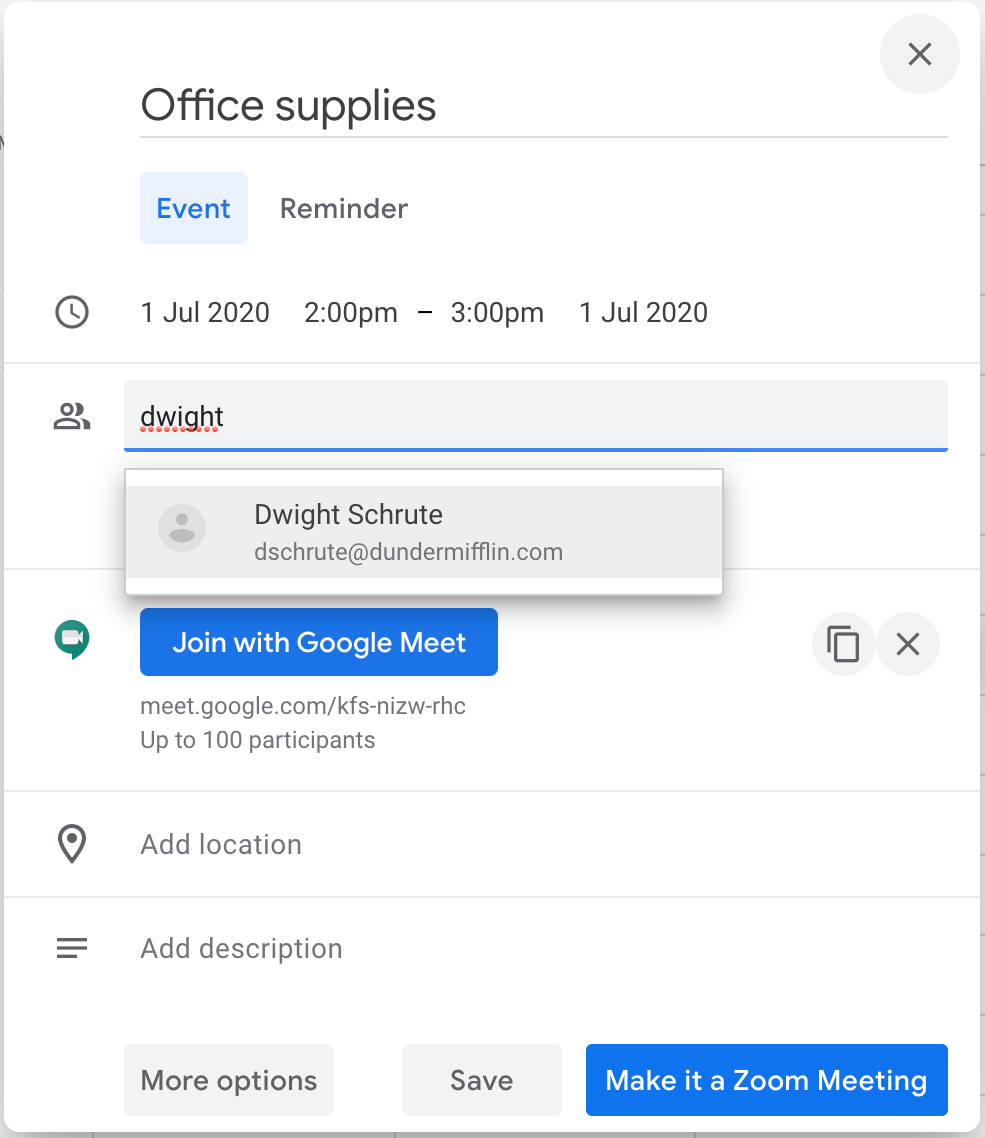google contacts on google calendar