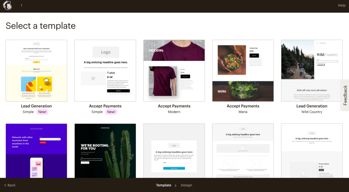 Mailchimp landing page template library