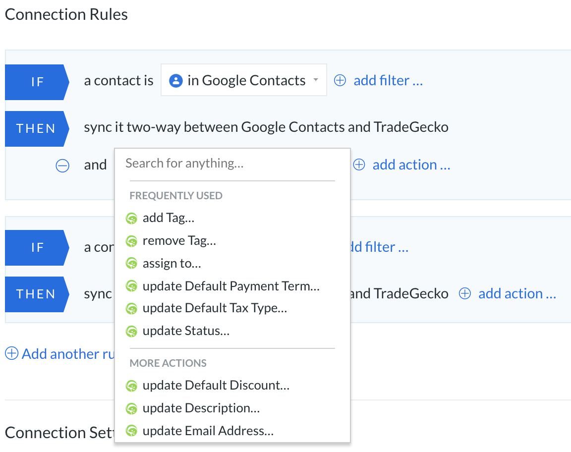 tradegecko and google contacts