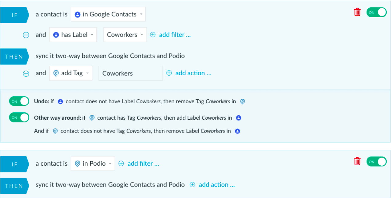 Google contacts-Podio
