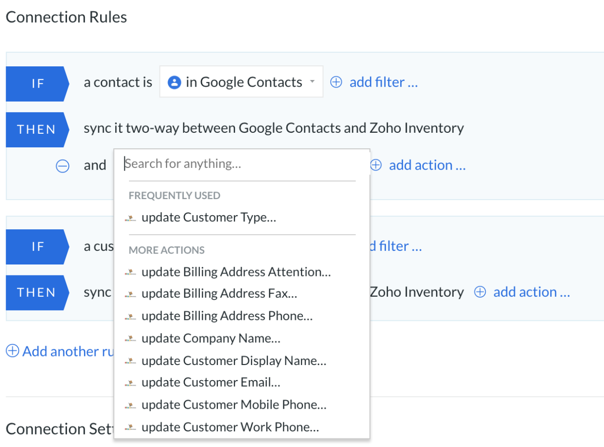 google contacts zoho inventory
