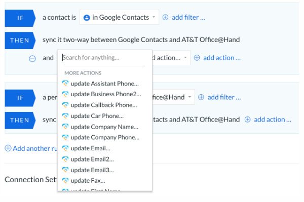 Google contacts At&t