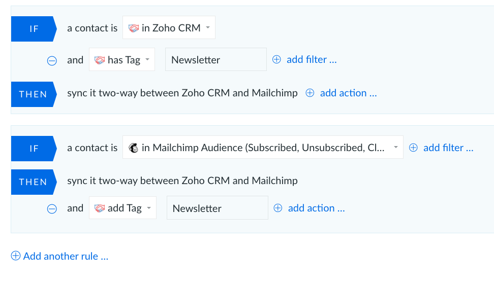 zoho crm with mailchimp