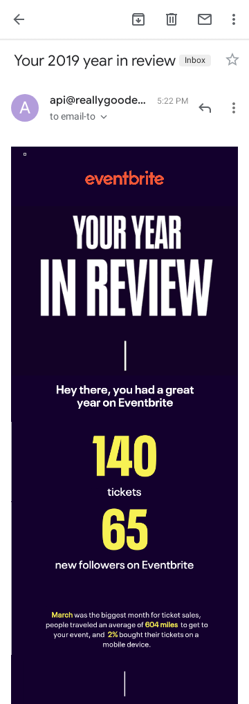 Eventbrite 2019 year in review personalized email