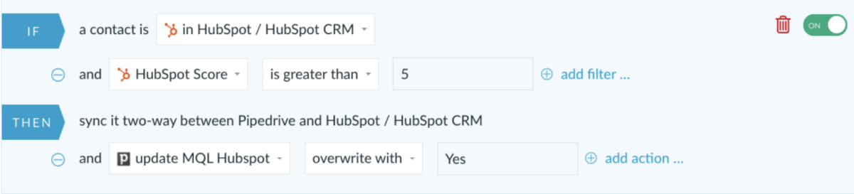 HubSpot and Pipedrive integration