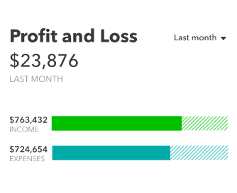 QuickBooks profit and loss indicator