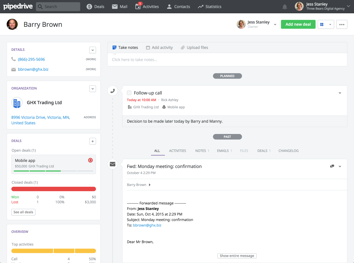 Pipedrive contact record