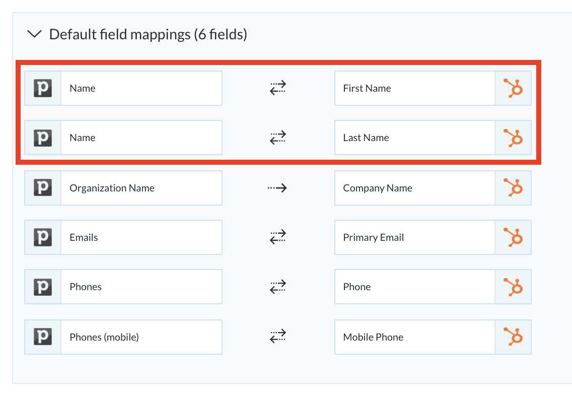 The name field in the default mappings