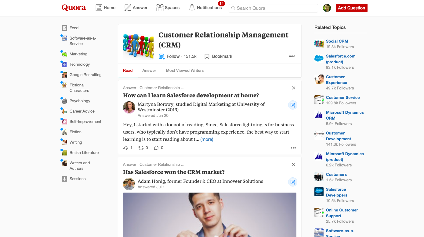 quora which crm to choose