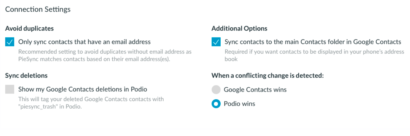 Pre-programmed options Podio-Google Contacts