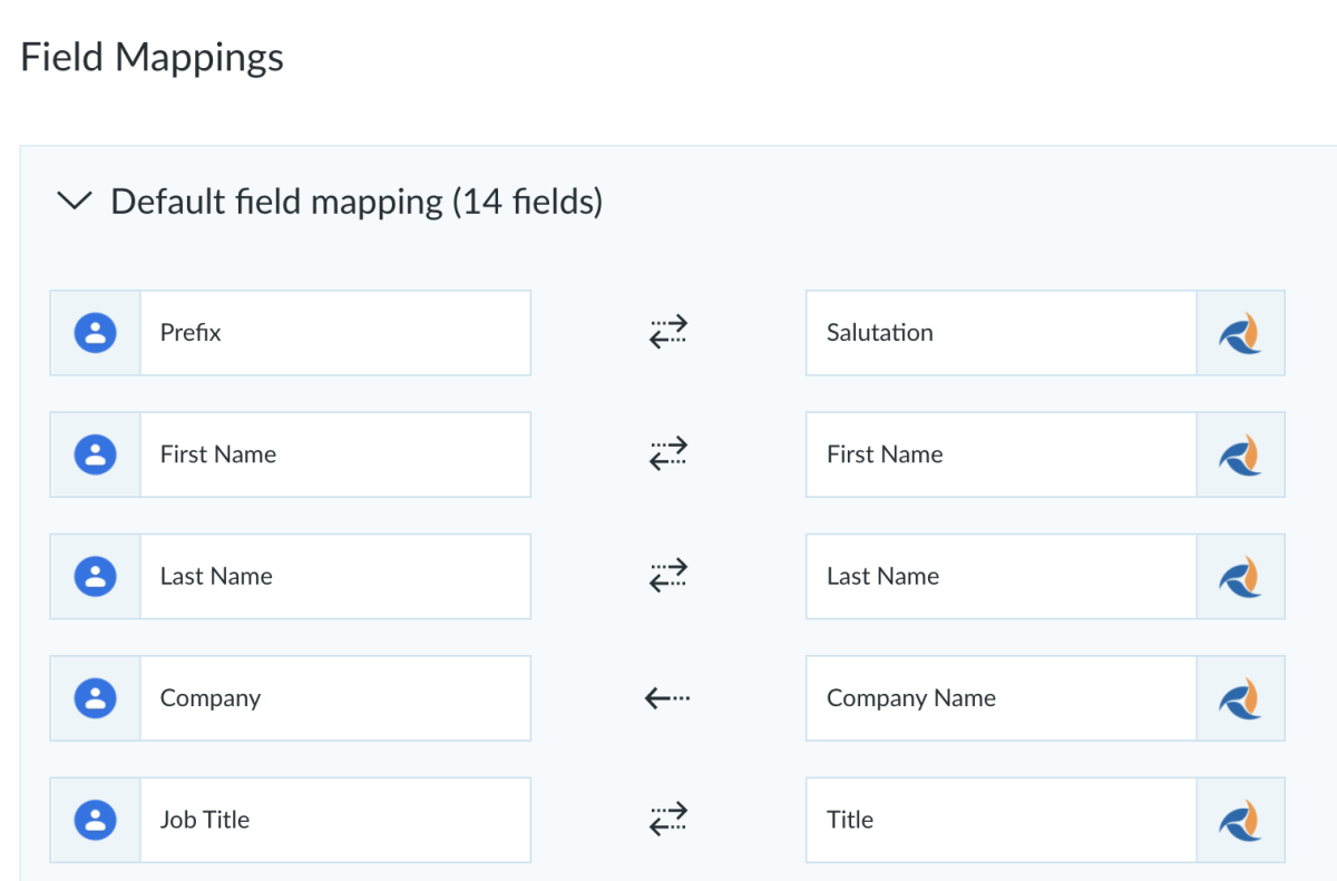 field mapping integration with apto crm