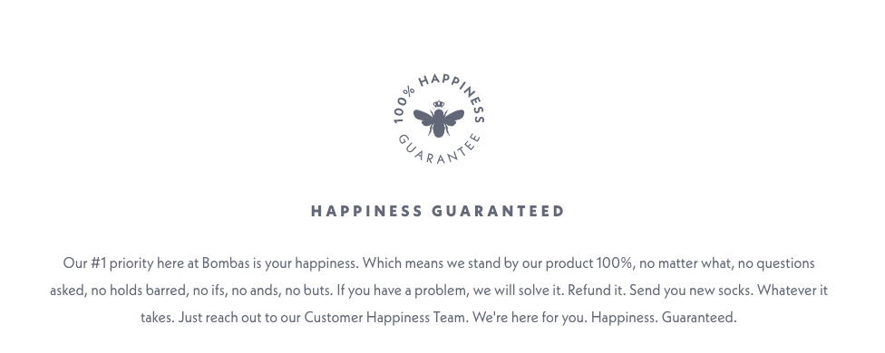 Happiness guarantee by Bombas to increase conversions