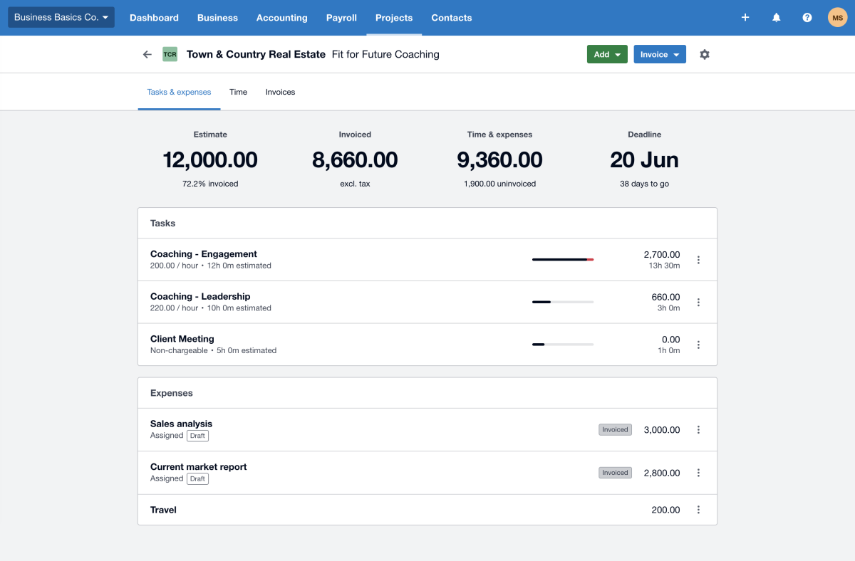 Xero expenses accounting for real estate
