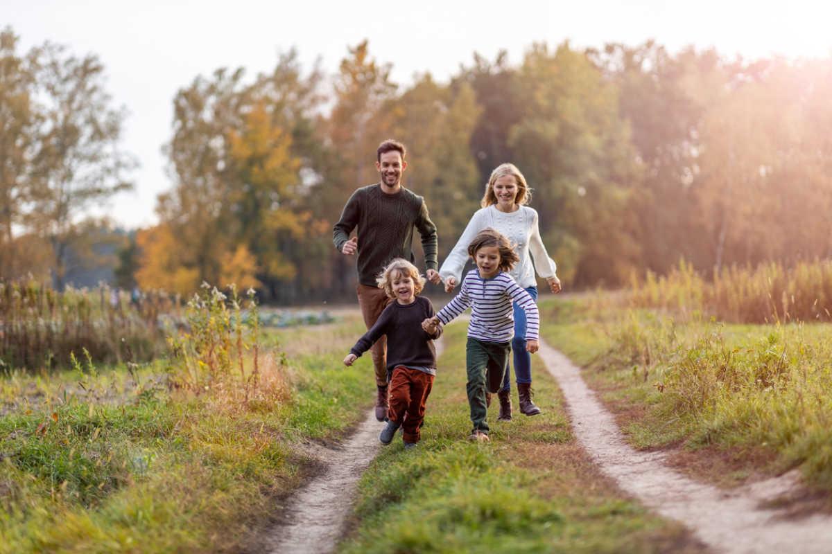 Young family having fun outdoors