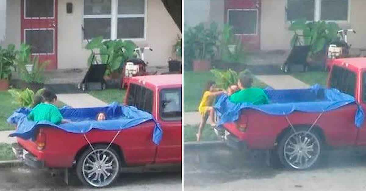 Man Donates Pool After Photo Shows Kids Swimming In Truck Bed Littlethings Com