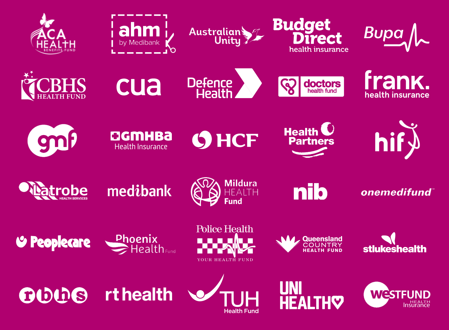 Grid of Australian health funds that Vogue Dental Studios accepts.