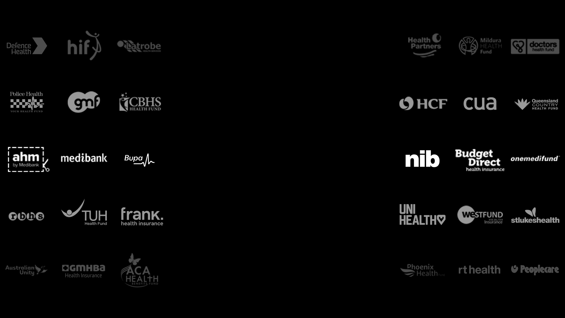 Logos of Australian insurance companies accepted by Vogue Dental Studios.