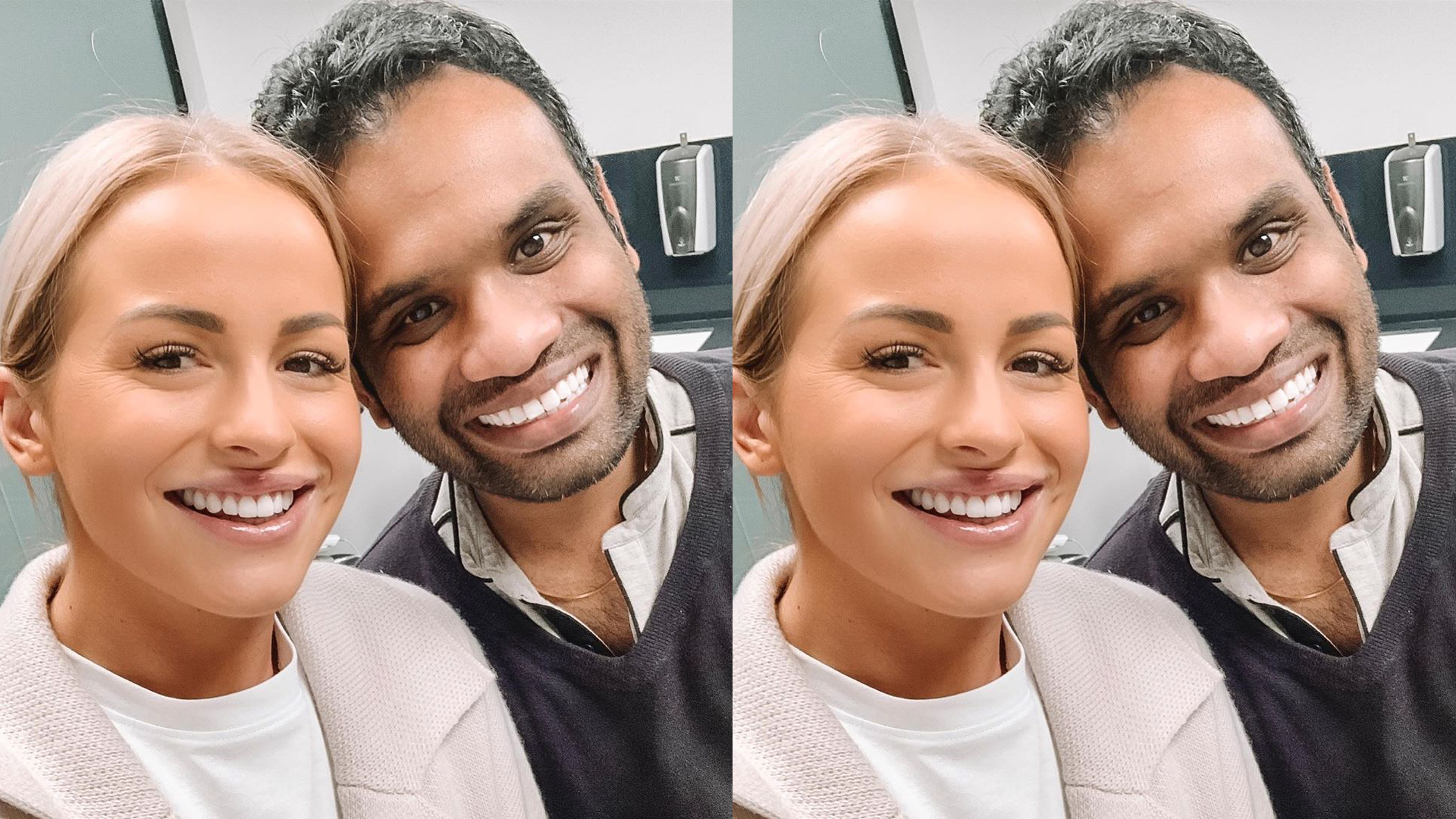Renee Stewart from Christchurch with Dr Deepan Duraisamy at Vogue Dental Studios
