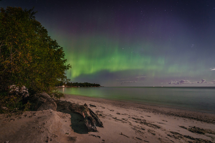 the northern light at Grand Beach in Winnipeg