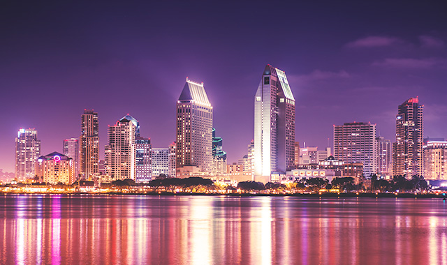 Swoop | picture of the night skyline of San Diego, California