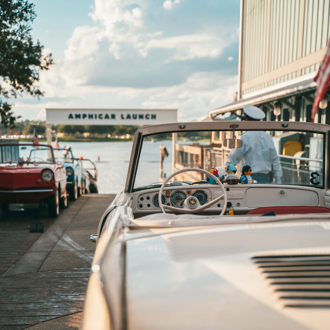 Swoop | a picture of the amphicar at disney springs in florida orlando