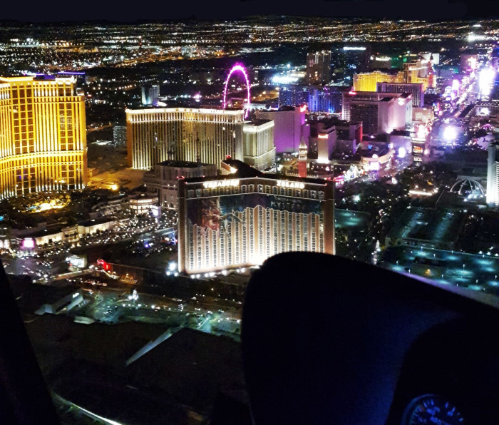 View from the Mavericks Helicopter tour of the Las Vegas Strip.