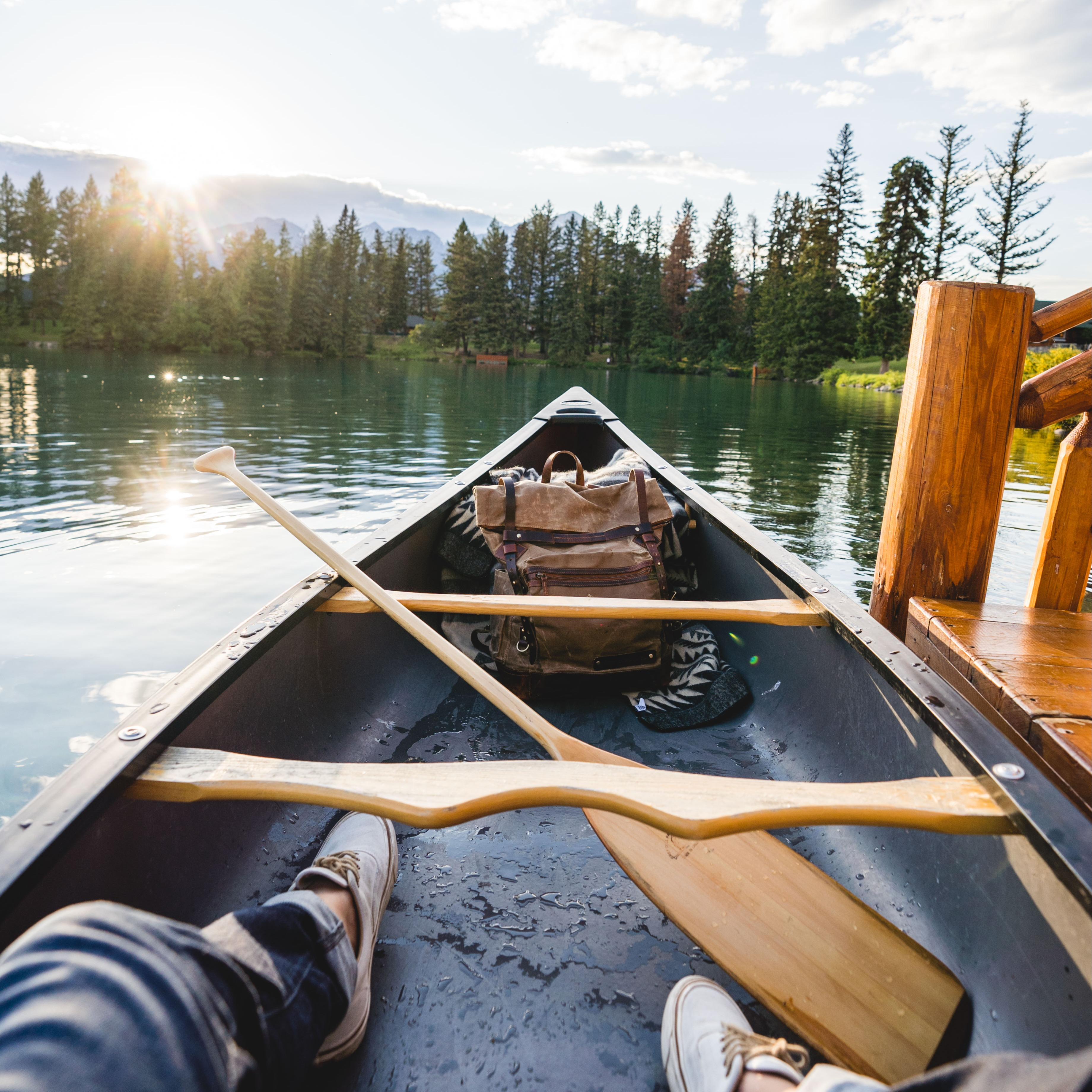 Swoop | picture of a person inside a canoe at the Fairmont Jasper Park Lodge on Lac Beauvert, 3.5 hours drive from Edmonton