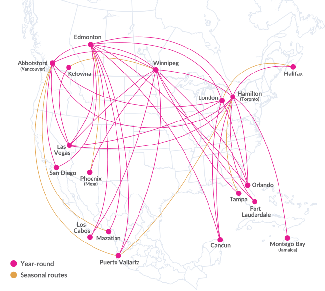 Swoop | a route map of where we fly including our two new destinations los cabos mexico and san diego california