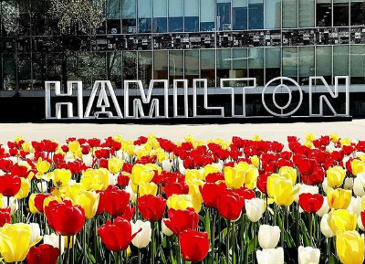 Swoop | Hamilton's large neon LED sign right outside city hall