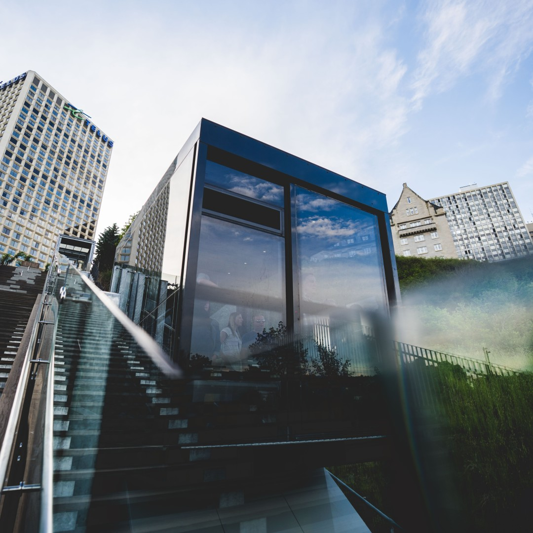 Swoop | picture of Edmonton's 100 Street Funicular that leads to a promenade overlooking the river valley