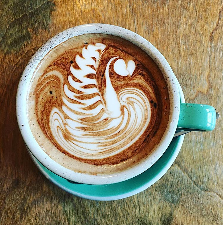 birds-eye-view of latte with a swan design in it.