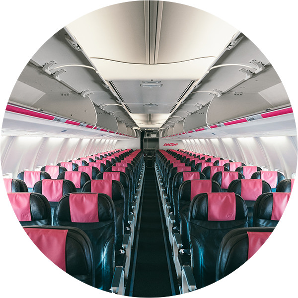 Swoop | the interior of our plane