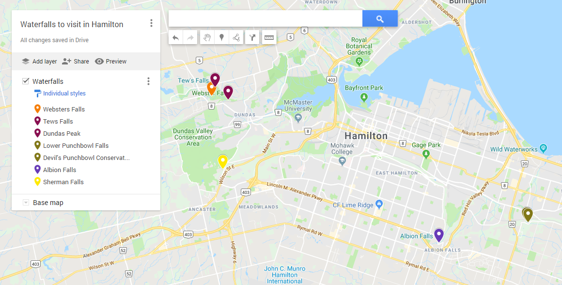 Swoop | a custom Google map land marked with the five essential waterfalls to visit in Hamilton