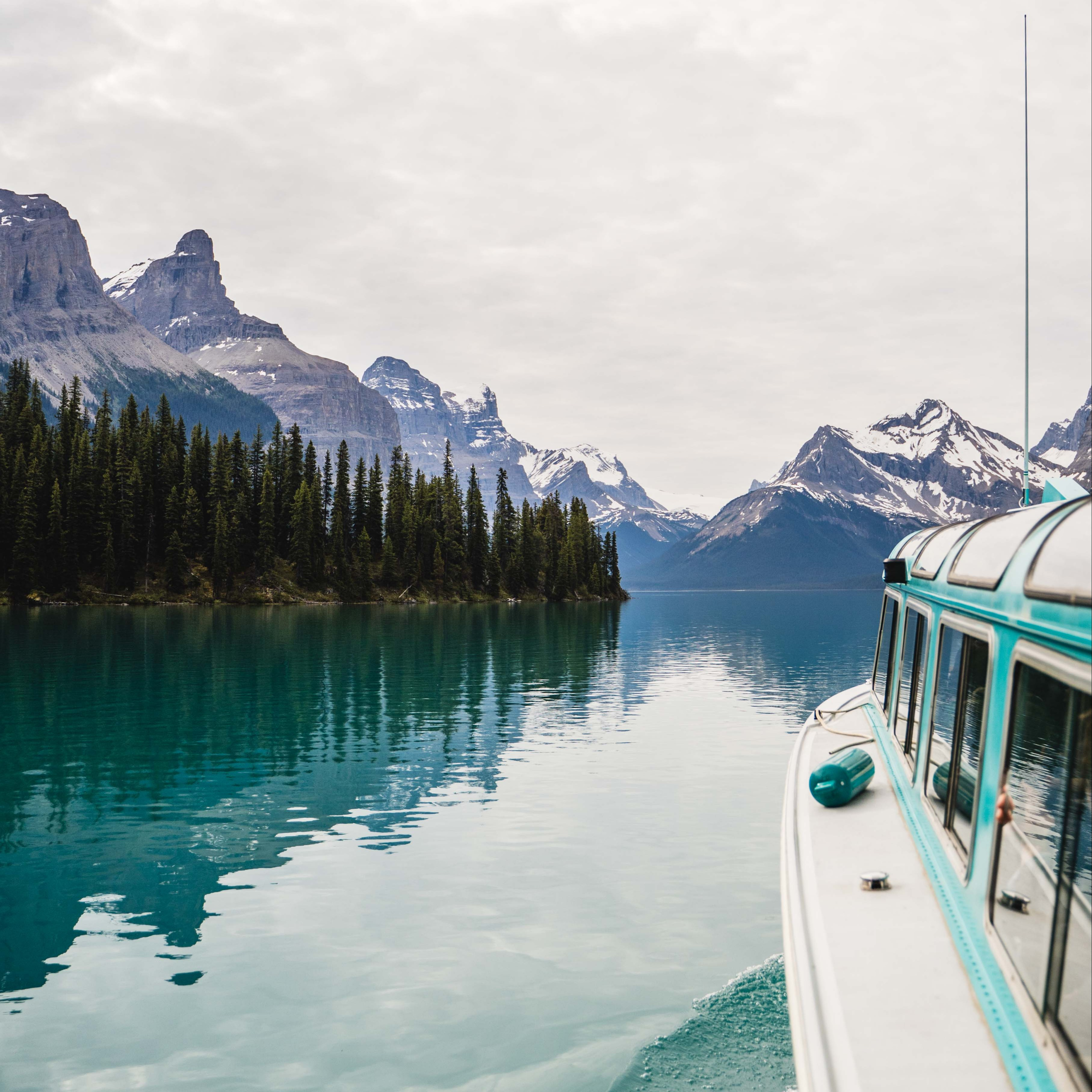 Swoop | a picture of the Maligne Lake boat tours in the Canadian Rockies, 3.5 hour drive away from Edmonton