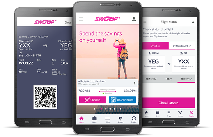 Screenshots of the Swoop app on a mobile phone, showing how to check in, view your boarding pass, see flight status, or book a flight.