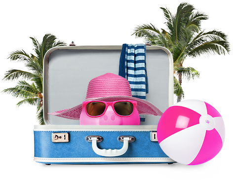 Swoop piggy bank is ready to hit the beach in one of Swoop's sun and fun destinations.