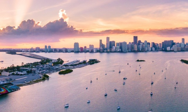 Downtown skyline and harbour of Fort Lauderdale, Florida at sunset.