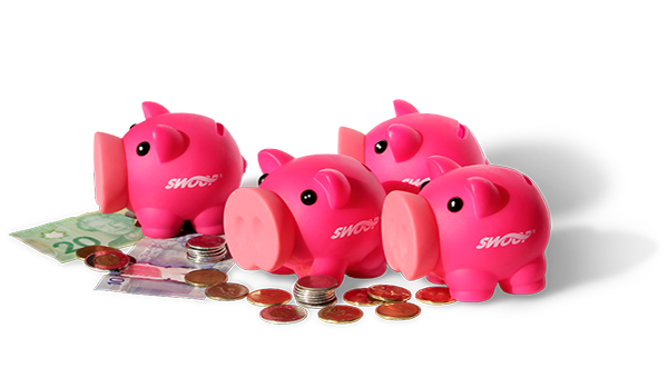 Swoop | four pig plastic piggy banks with some Canadian money laying around