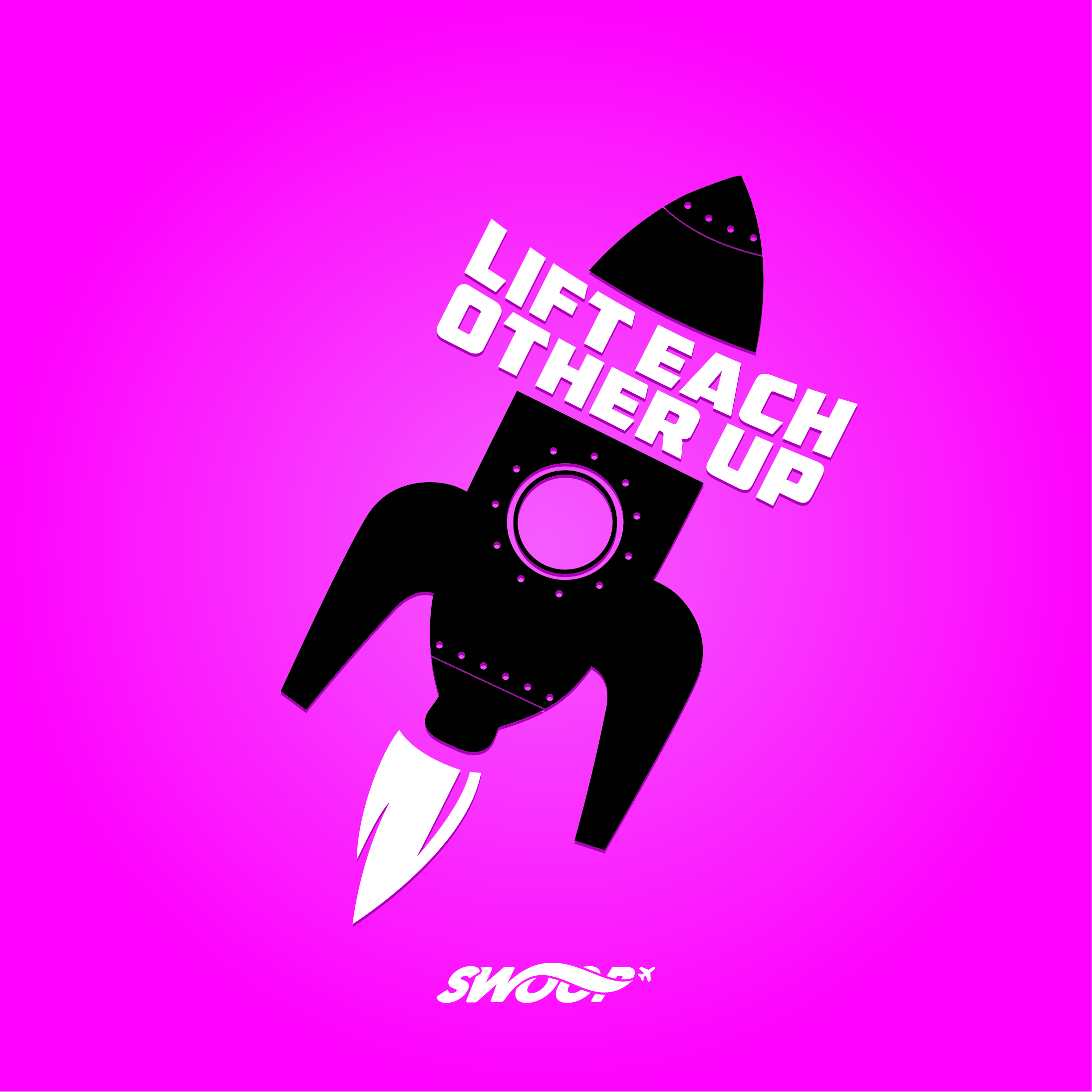 swoop | a graphic of a rocket with the text