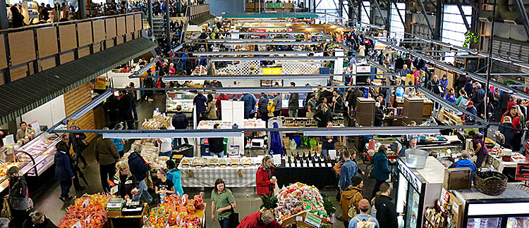 images of busy farmers market in Halifax