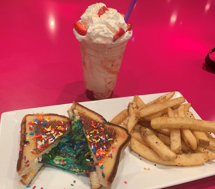 Unicorn grilled cheese with boozy strawberry milkshake at Fiddlesticks on Fremont Street in Las Vegas.