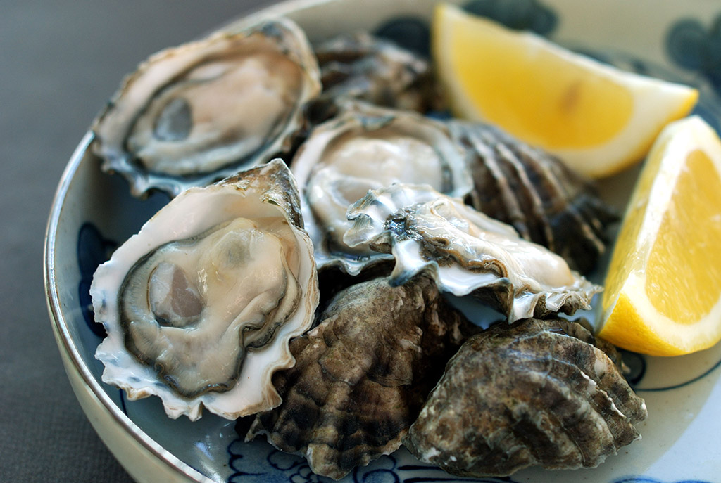 Swoop | picture of freshly shucked oysters with two pieces of lemon