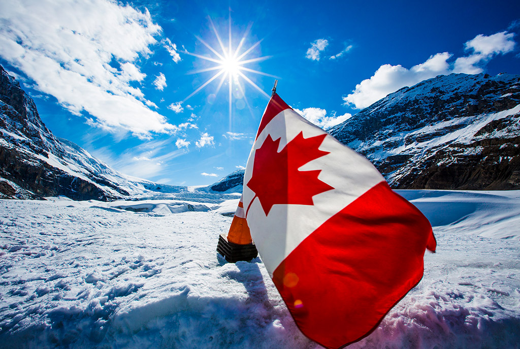 Swoop | a Canadian flag in the middle of the Columbian icefield