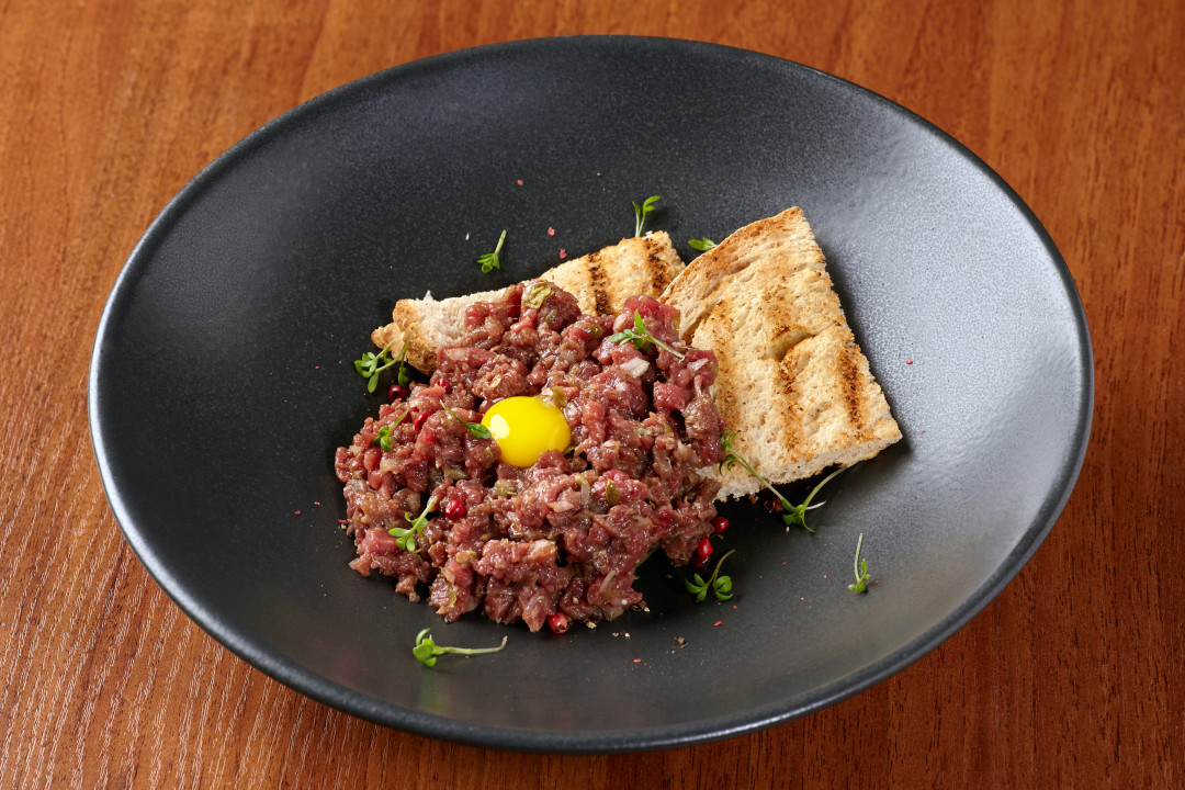 Swoop | picture of beef tartare dish with bread