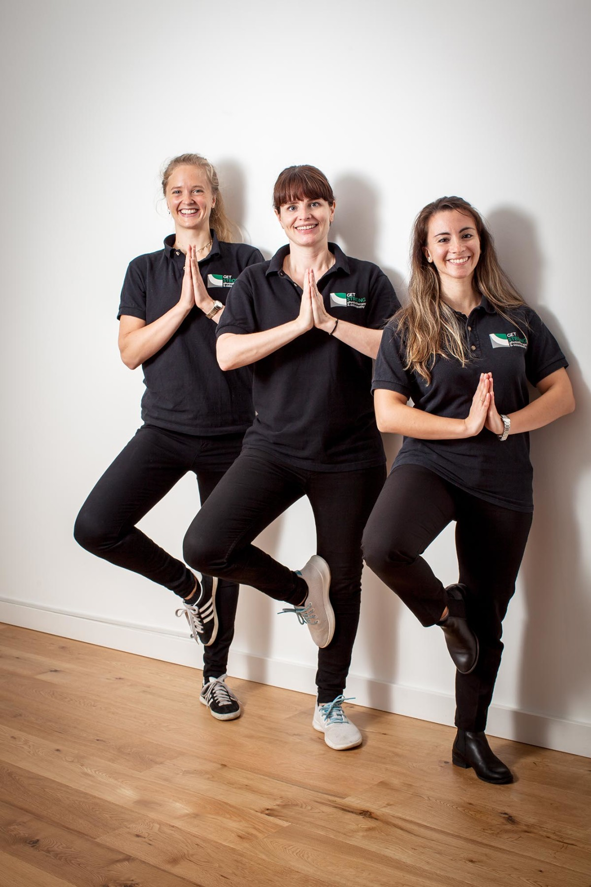 Behind the scenes photo shoot, the team at Get Strong physiotherapy & osteopathy