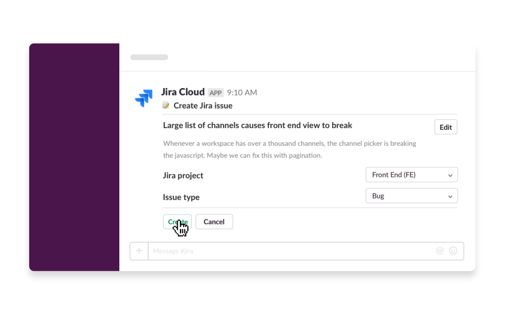 An image of the Jira Cloud app being used in Slack