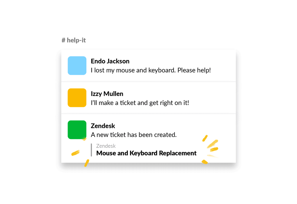 An image of a new Zendesk ticket being created in Slack with the Zendesk app