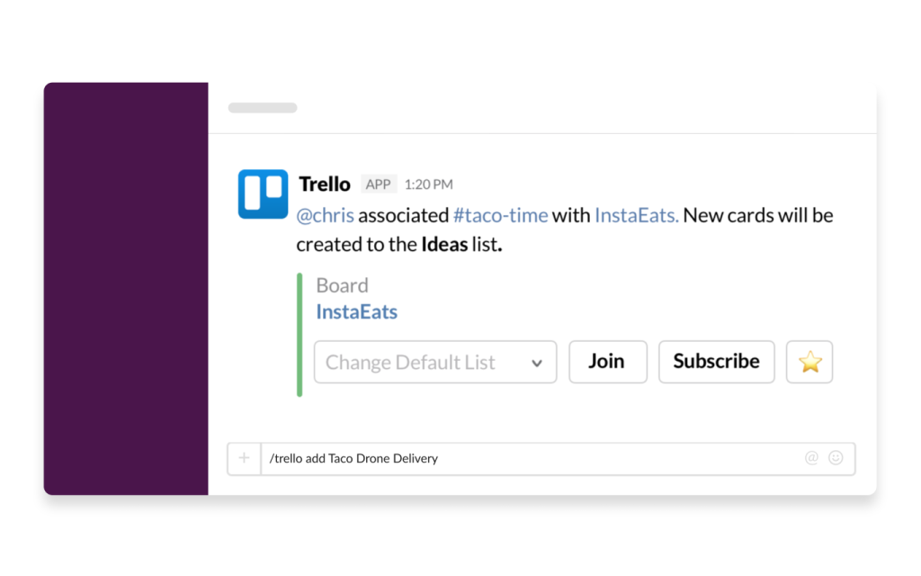 An image of the Trello app being used in Slack