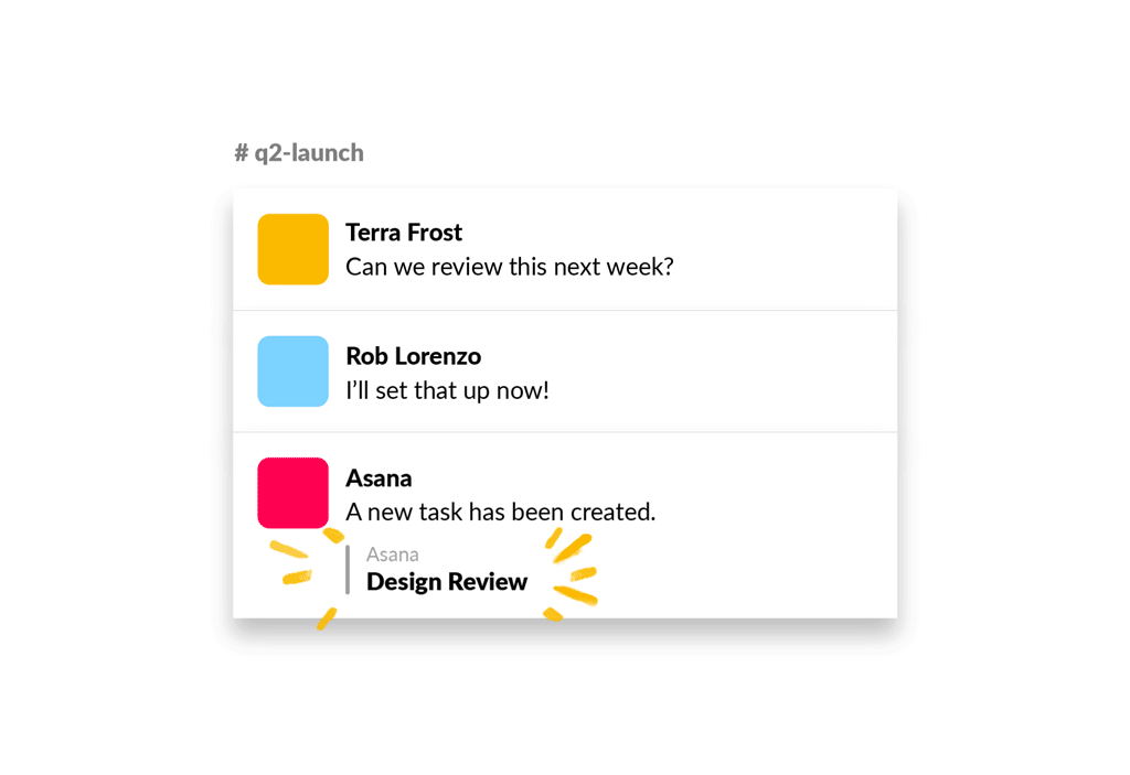 An image of a new task created in Slack with the Asana app